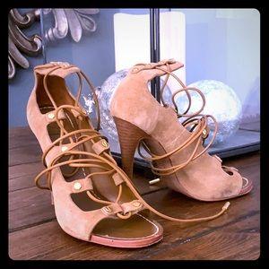 Camel beige lace high heels